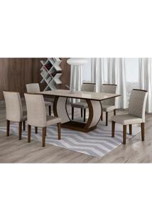 Conjunto De Mesa De Jantar Com 6 Cadeiras Maia I Linho Castor E Cinza