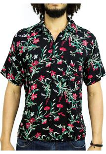 Camisa Andy Roll Clothing Floral Triball Flowers Preta