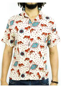 Camisa Andy Roll Clothing Floral Asian Tiger Branca