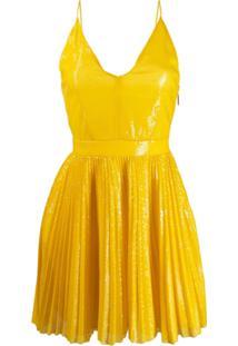 Msgm Vestido Com Pregas - Amarelo