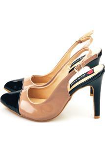 Scarpin Slingback Love Shoes Agulha Alto Captoe Verniz Nude