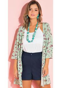 Kimono Floral Verde Com Fenda