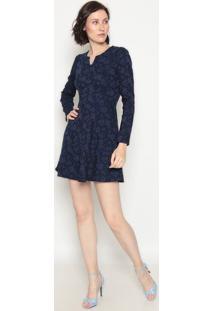 Vestido Com Recortes - Azul Marinho- Operateoperate