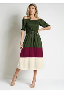 Vestido Tricolor Verde Comfivela Moda Evangélica
