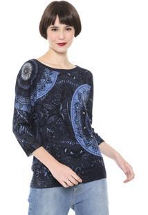 Suéter Desigual Tricot Pedrarias Azul-Marinho
