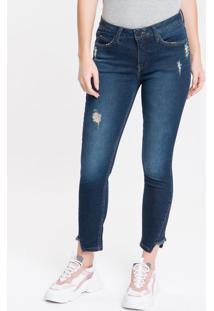 Calça Jeans Feminina Five Pockets Skinny Cintura Média Azul Marinho Calvin Klein - 34