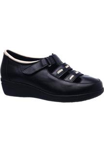 Sapato Conforto Esporão 188 Couro Doctor Shoes Feminino - Feminino-Preto