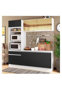 Cozinha Compacta Madesa Diamante Com Armário, Balcáo E Tampo Preto