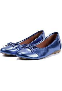Sapatilha Feminina Metalizada Laço Leve Confortável Casual - Feminino-Azul