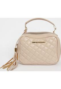 Bolsa Em Couro Matelass㪠Com Bag Charm- Nude- 16X22Xdi Marlys