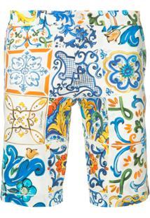 Dolce & Gabbana Bermuda Com Estampa Sicilian - Branco
