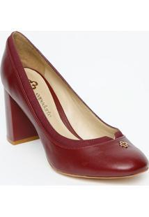 c76930d98f ... Sapato Tradicional Em Couro - Bordô - Salto 8Cmcapodarte