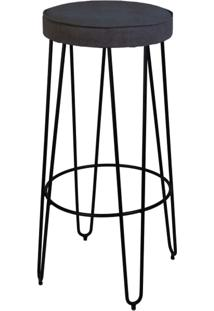 Banqueta Iowa Base Aço Carbono Preto Design Minimalista