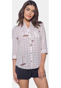 Camisa Manga 3/4 Estampada Tecido Blanc - Lez A Lez