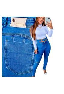 Calça Jeans Feminina Levanta Bumbum Com Fivela Frontal