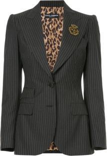 Dolce & Gabbana Blazer Risca De Giz Com Aplicação - Preto