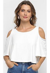 Blusa Cropped Los Wear Open Shoulder Feminina - Feminino-Off White