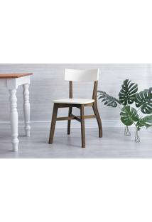 Cadeira Para Sala De Jantar Bella - Castanho E Branco 44X51X82 Cm