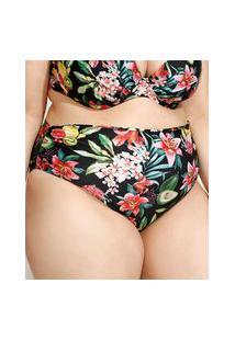 Biquíni Calcinha Plus Size Hot Pant Estampado De Frutas Com Franzido E Proteção Uv50+ Preto