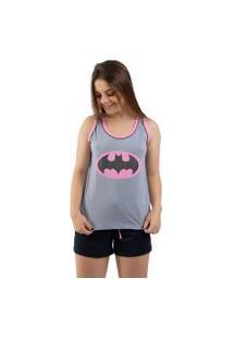 Baby Doll 4 Estações Pijama Curto Verão Regata Batgirl Feminino Cinza Com Rosa