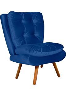 Poltrona Decorativa Tolucci Suede Azul Royal Com Pés Palito - D'Rossi
