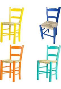 Kit 4 Cadeiras Lagiana Pequenas Eucalipto Coloridas B Assento Palha - 59485 - Sun House
