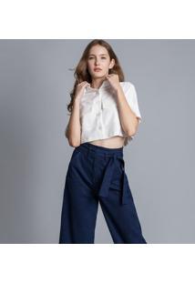 Calça Pantacourt Com Cinto Jeans - Lez A Lez