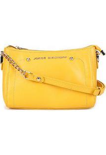 Bolsa Clutch Couro Jorge Bischoff Arraia Basic Citrino - Feminino-Amarelo