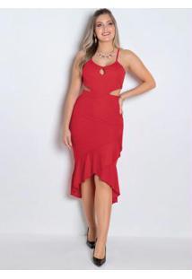Vestido Longuete Vermelho Com Vazados E Babado
