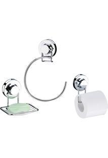 Conjunto Para Banheiro Com Ventosa 3 Peças Cromado