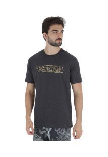Camiseta Volcom Straight Up - Masculina - Preto Mescla