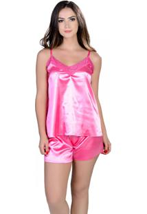 Short Doll Yasmin Lingerie Silk Satin Rosa