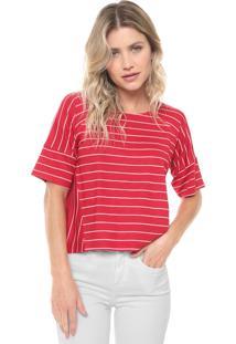 Blusa Cativa Listrada Vermelha