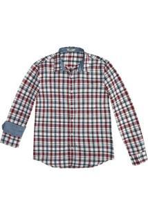 Camisa Masculina Xadrez Manga Longa Em Algodão E Slim