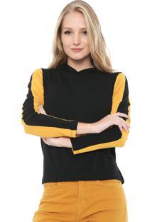 Blusa Fiveblu Capuz Preta/Amarela
