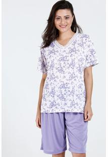Pijama Feminino Bermudoll Floral Marisa