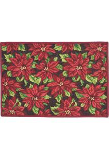 Tapete Floral- Vermelho & Verde- 68X48Cm- Mabrukmabruk