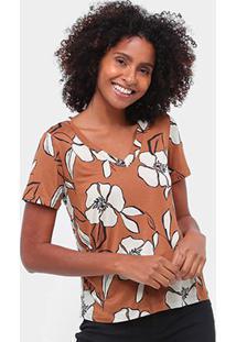 Camiseta Mob Floral Gola V Feminina - Feminino-Marrom