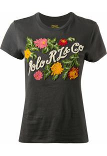 Polo Ralph Lauren Camiseta Com Bordado De Logo Floral - Preto