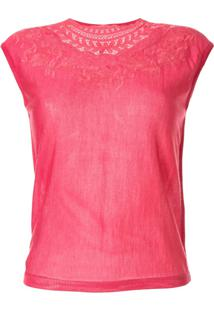 Giambattista Valli Camiseta Com Bordado No Decote - Rosa