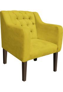 Poltrona Decorativa Lisa Suede Amarelo - D'Rossi