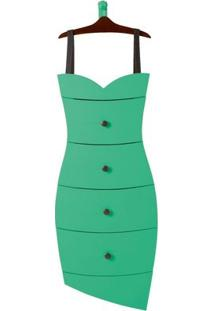 Cômoda 4 Gavetas Dress Maxima Cacau/Verde Anis