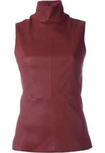 Mugler Blusa De Couro - Vermelho