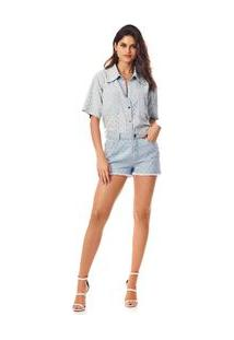 Camisa Manga Curta Barra Desfiada Jeans