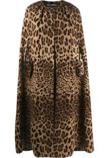 Dolce & Gabbana Pelerine Com Animal Print - Marrom