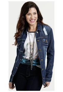Jaqueta Feminina Jeans Destroyed Gups