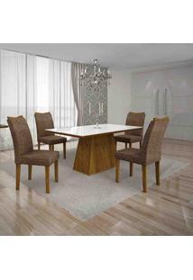 Conjunto De Mesa Com 4 Cadeiras Pampulha I Canela E Marrom