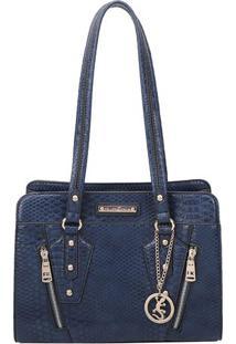 Bolsa Texturizada Com Recortes - Azul Marinho & Dourada