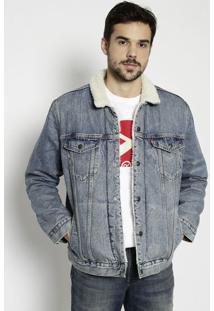 Casaco Jeans Com Pelãºcia & Bolsos - Azullevis
