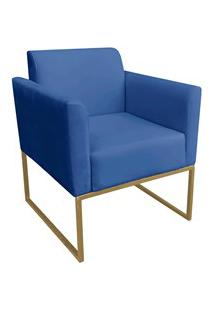 Poltrona Decorativa Base Industrial Dourada Maressa S22 Suede Azul Roy